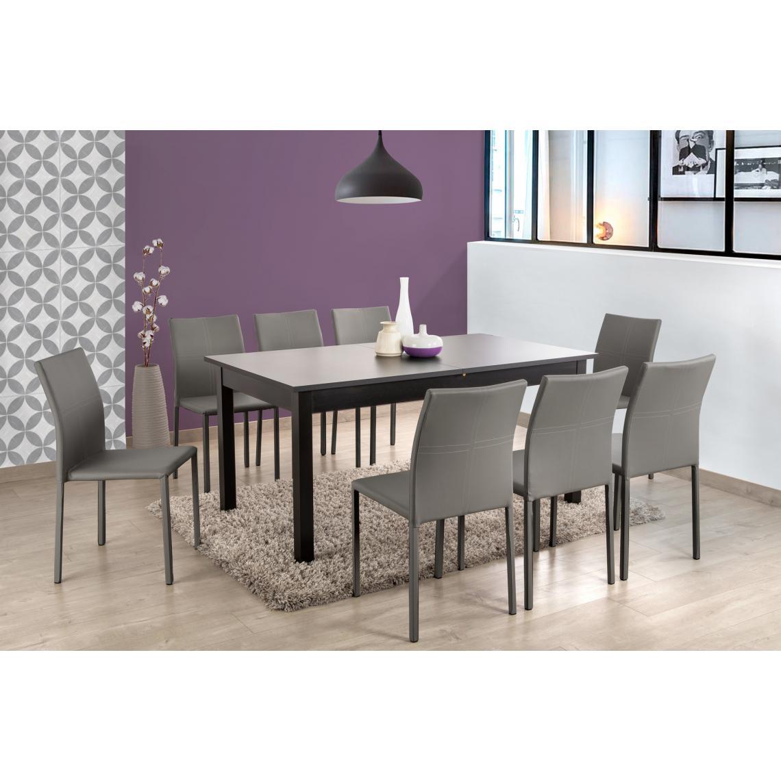 Table A Manger Extensible 2 Rallonges Bois Noir 160x90 Heather 3