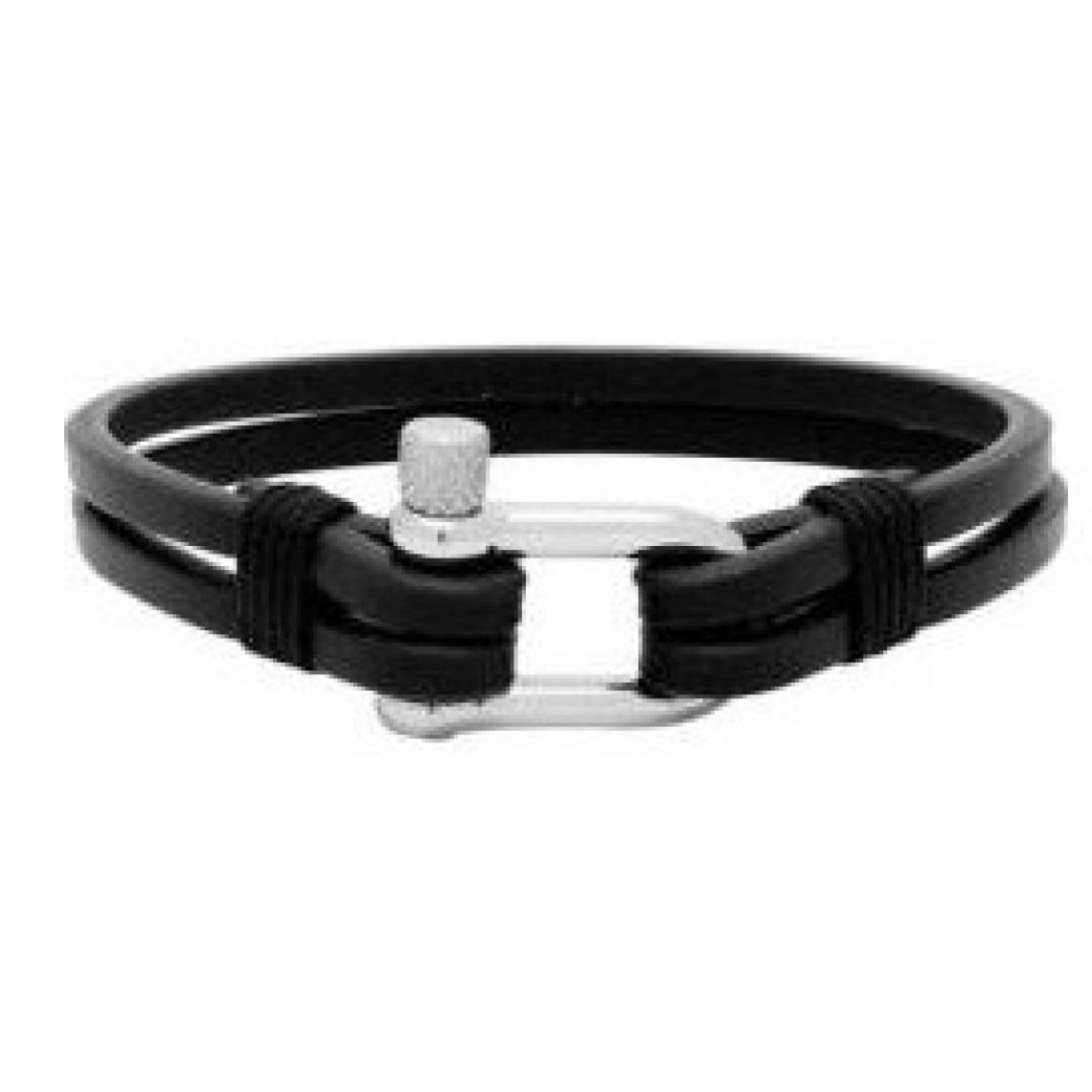 B35016001m Noir Cuir Winch Rochet Bracelet Acier srdtQCh