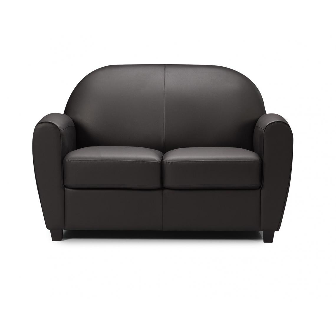 canap club 2 places noir heloise 3suisses. Black Bedroom Furniture Sets. Home Design Ideas