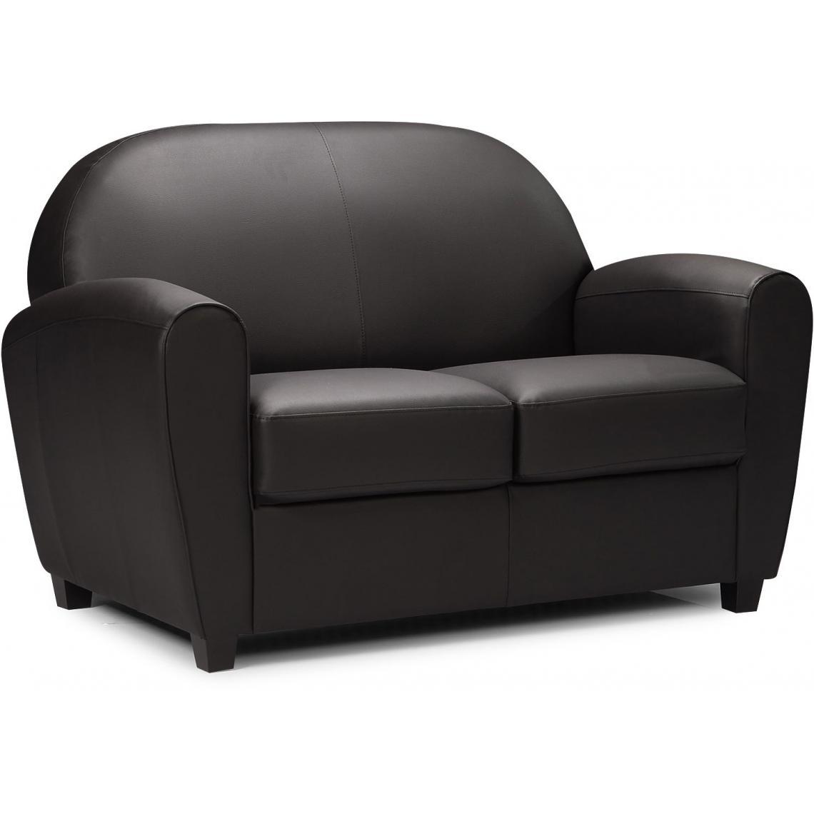 canap club 2 places noir heloise 3 suisses. Black Bedroom Furniture Sets. Home Design Ideas