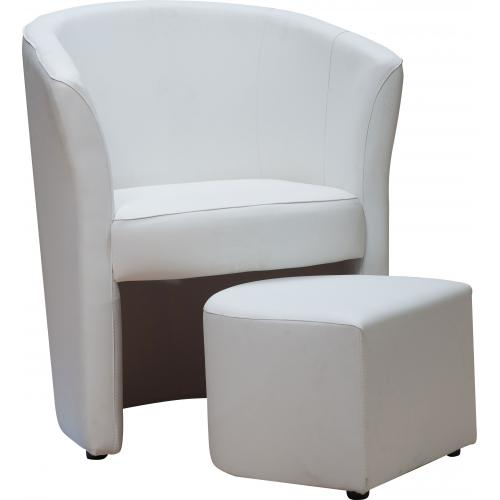 3S. x Home - Fauteuil Cabriolet Repose Pieds Blanc BUZZ - Fauteuil