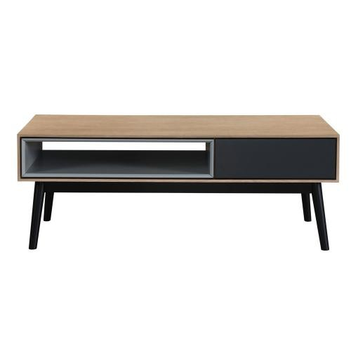 3 SUISSES - Table basse Bois Noir 1 niche 1 tiroir HOURN - Table basse