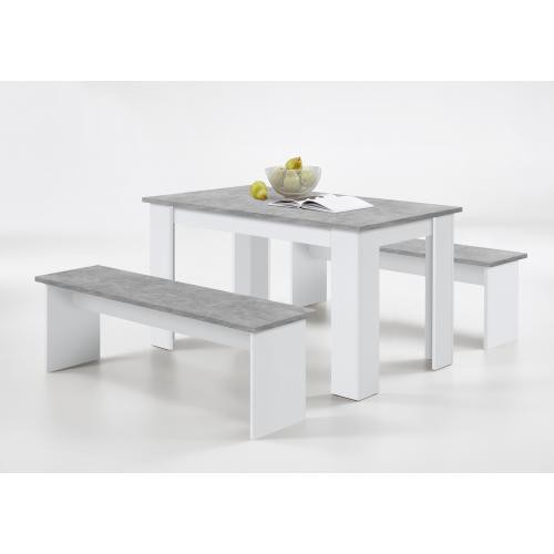 3S. x Home - Ensemble Table + 2 Bancs Gris Béton Blanc LEYNE - Table salle à manger