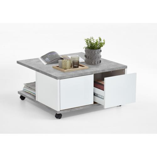 3S. x Home - Table Basse A Roulettes Gris B?ton Blanc Brillant AMBRE - Table basse
