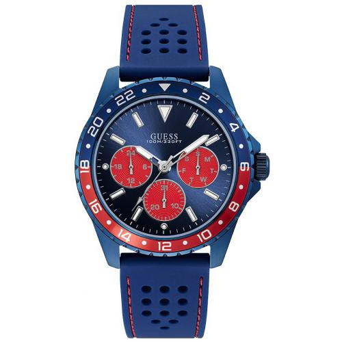 Guess Montres - Montre Guess W1108G1 - ODYSSEY Silicone Bleu Lunette Bicolore Homme - Promotions Homme