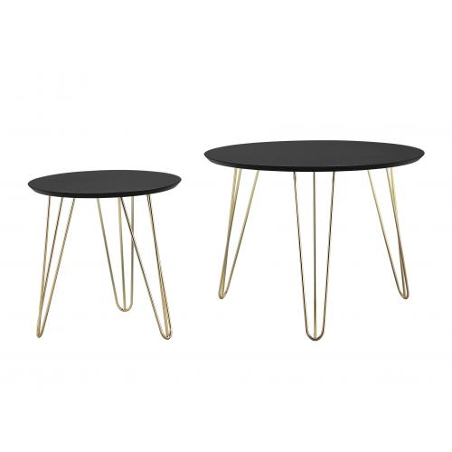 3 SUISSES - Set de 2 Tables d\'Appoint Bois Métal Noir ZAGAZIG - Le salon