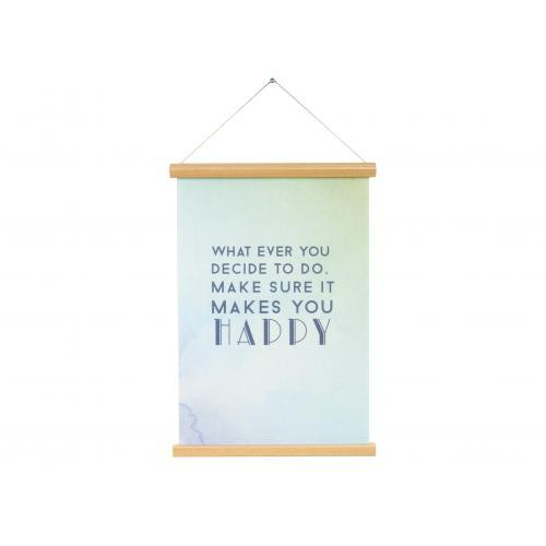3S. x Home - Affiche Bleue Make Sure It Makes You Happy MALLAWI - Scandinave