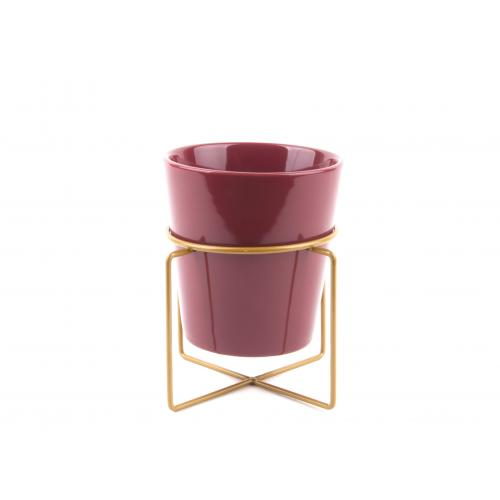 3S. x Home - Pot de Fleur C?ramique Rouge Dor? GOLDEN - Meuble & Déco