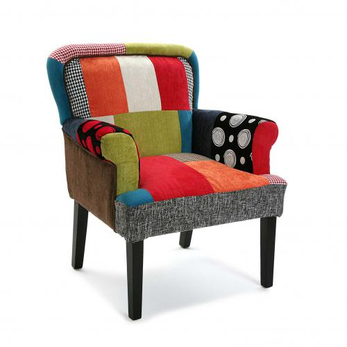 3S. x Home - Chaise Avec Accoudoirs Patchwork Multicolore RAGETTI - Chaise