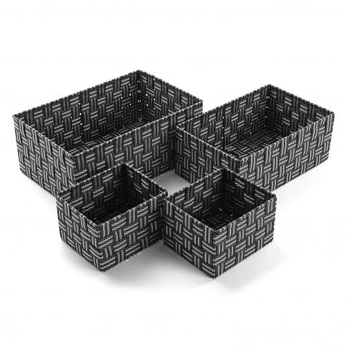 3S. x Home - Set 4 Boîtes Anthracite GARRAY - Dressing & rangement