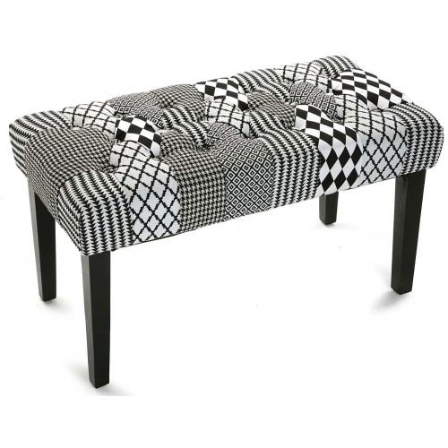 3S. x Home - Banquette Patchwork Noir Blanc HARLEY - Banc