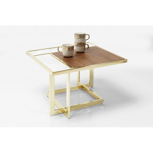 KARE DESIGN - Table Basse Carrée Marron Or MILWAUKEE - Table basse