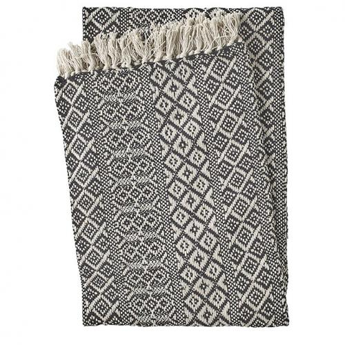 3S. x Home - Plaid en Coton Noir Beige TANGO - Plaid