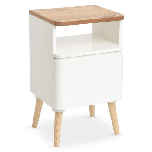 3S. x Home - Table de Chevet Scandinave Bois Blanc ACHUMAWI - Table de chevet