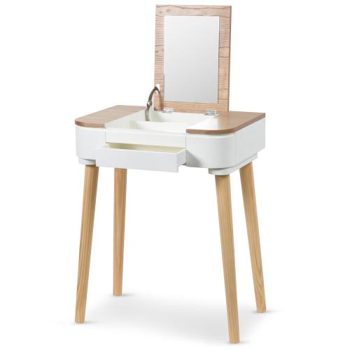 3S. x Home - Coiffeuse Scandinave Bois Blanc ACHUMAWI - Dressing & rangement