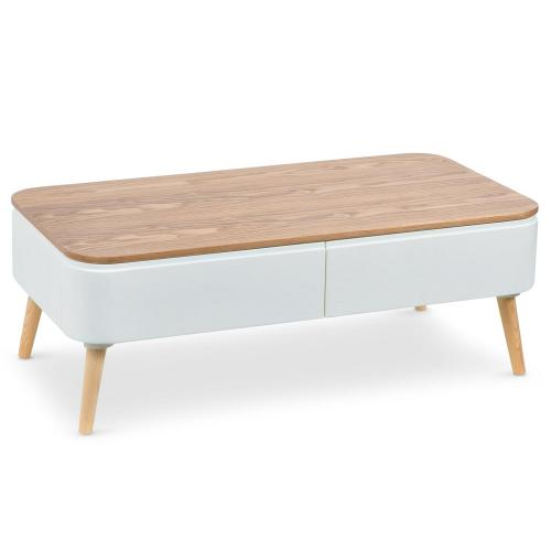 3S. x Home - Table Basse Scandinave Bois Blanc ACHUMAWI - Table basse