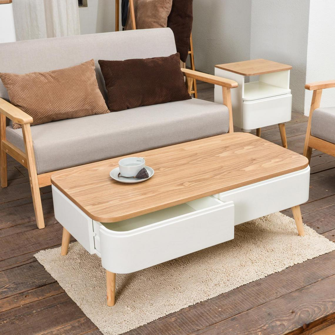 Grande Table Basse Bois table basse scandinave bois blanc achumawi plus de détails