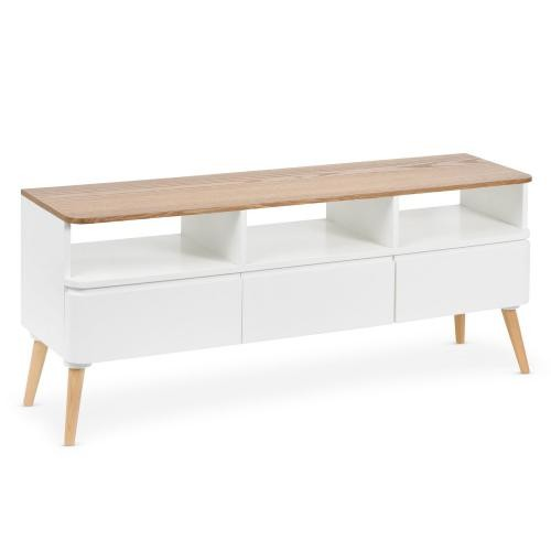 3S. x Home - Meuble TV Scandinave Bois Blanc ACHUMAWI - Le salon