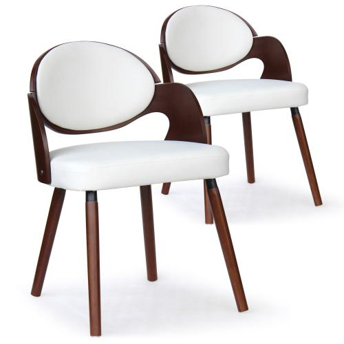 3S. x Home - Lot de 2 Chaises Scandinaves Bois Noisette Blanc ALSEA - Chaise, tabouret, banc