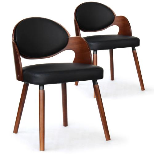 3S. x Home - Lot de 2 Chaises Scandinaves Bois Noisette Noir ALSEA - Chaise, tabouret, banc