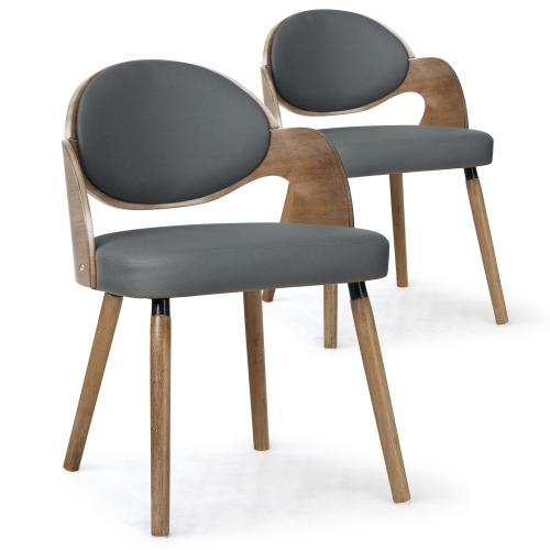 3S. x Home - Lot de 2 Chaises Scandinaves Bois Gris ALSEA - Chaise, tabouret, banc