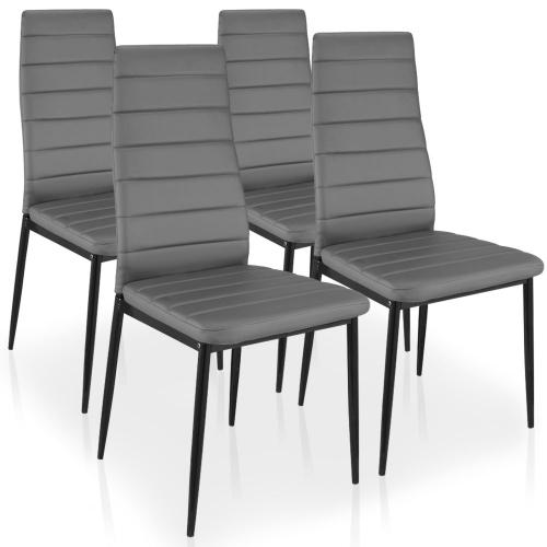 3S. x Home - Lot de 4 Chaises Gris HOUSTON - Chaise, tabouret, banc