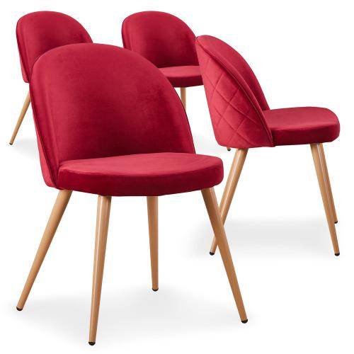 3S. x Home - Lot de 4 Chaises Velours Rouge LOUGA - Chaise
