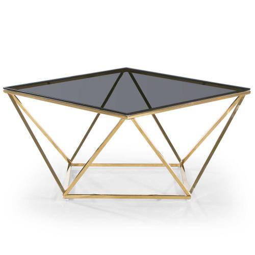 3S. x Home - Table Basse Or Plateau Verre Fumé TAMBA - Table basse