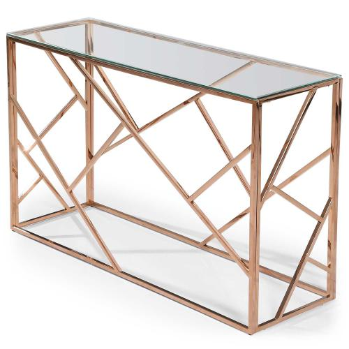 3S. x Home - Console Or Rose Plateau Verre Transparent TAMBA - Console
