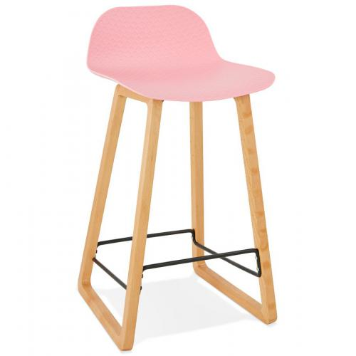 3S. x Home - Tabouret de Bar Scandinave Hêtre Rose WHEELIE - Tabouret de bar