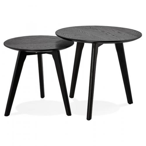 3S. x Home - Set de 2 Tables Gigognes Bois Noir GABBIE - Table basse