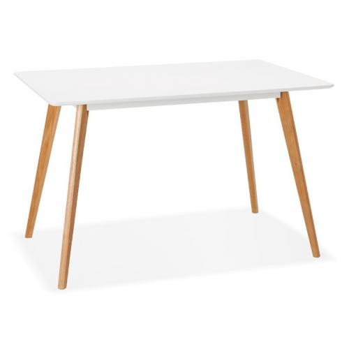 3S. x Home - Table à Manger Scandinave Bois Blanc CLADIE - Table
