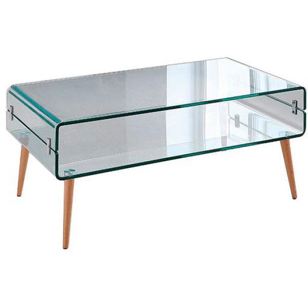 Table Basse Verre Bois Loona