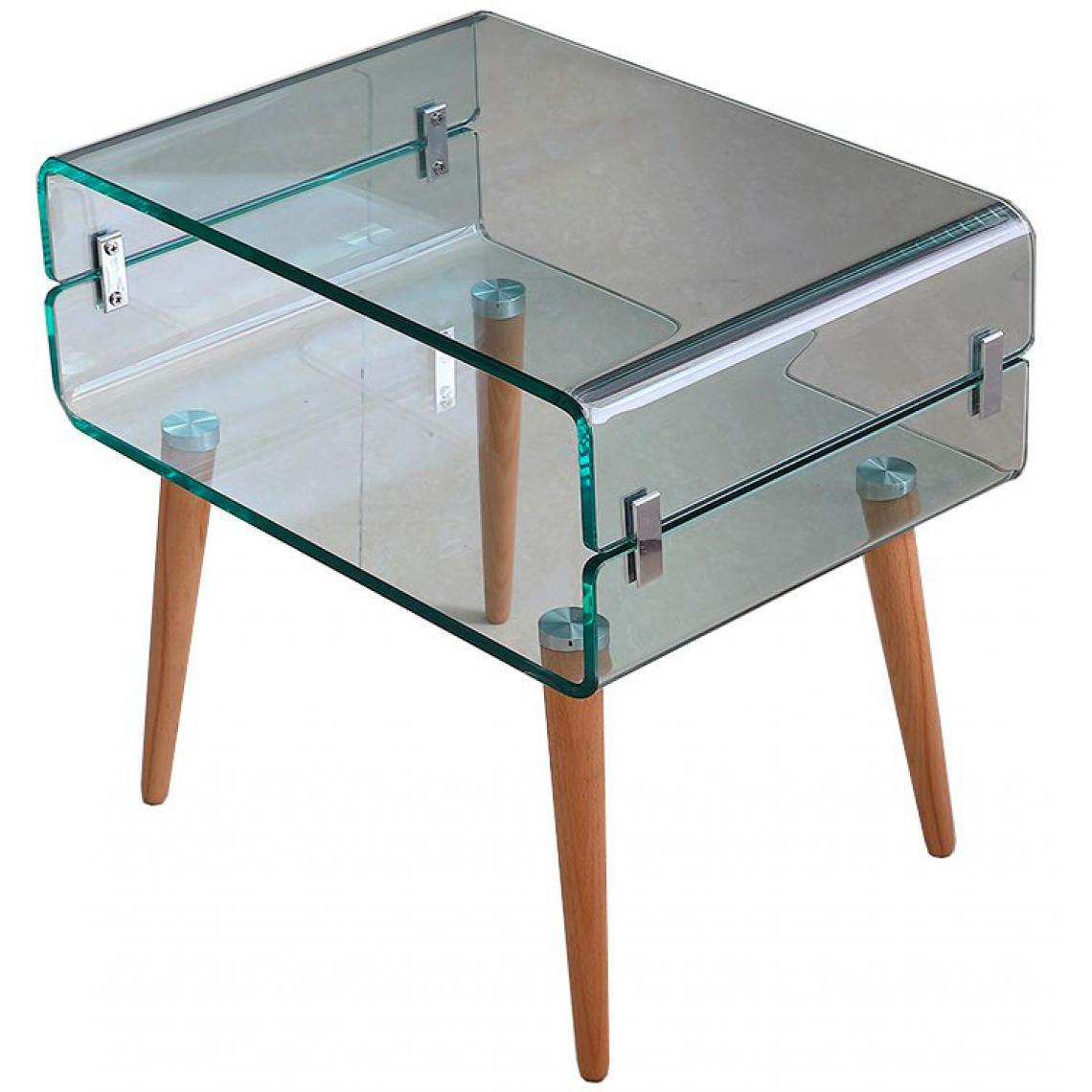 Table De Chevet Verre Bois Firna