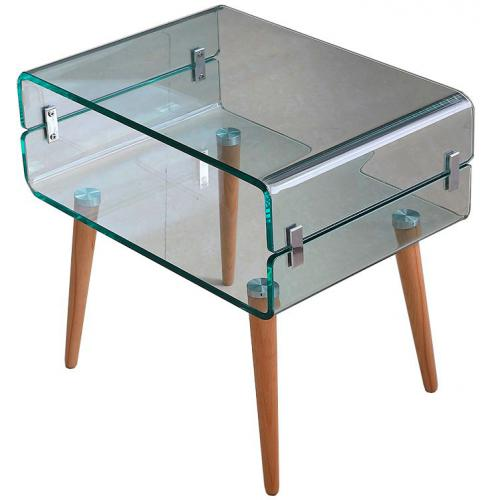 3S. x Home - Table de Chevet Verre Bois FIRNA - Table de chevet