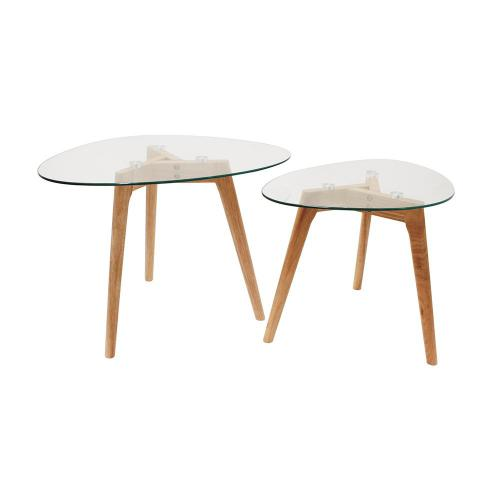 3S. x Home - Tables Gigognes Verre Chêne PETSAMO - Table basse