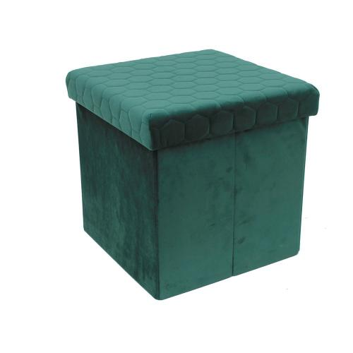 3S. x Home - Coffre Pouf Pliable Velours Vert PETUNIA - Le salon