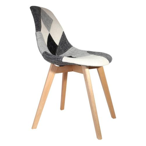 3S. x Home - Chaise Scandinave Patchwork Gris PATCHA - Chaise, tabouret, banc