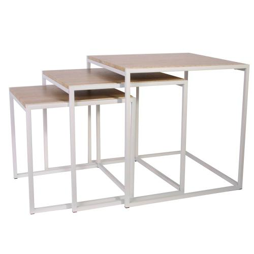 3S. x Home - Tables Gigognes 45x45cm Blanc TCL - Table basse
