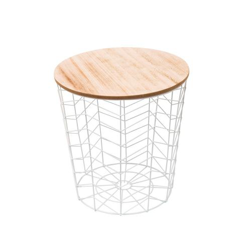 3S. x Home - Table Basse Filaire Métal Blanc VIBES - Table basse