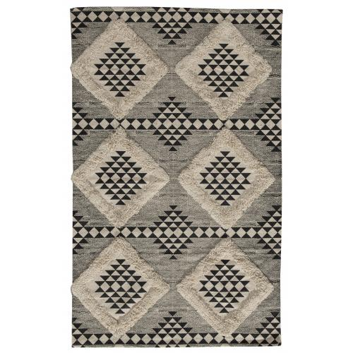 3S. x Home -  Tapis imprimé tufté Noir Naturel 120x180 - EKO  - Collection ethnique meuble deco