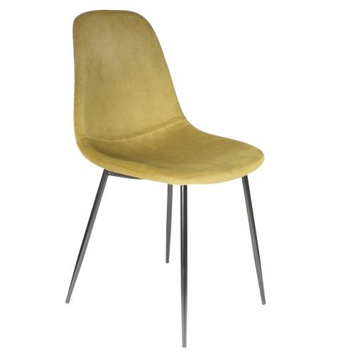3S. x Home - Chaise Velours Cotele Giulia Jaune Moutarde - Chaise, tabouret, banc