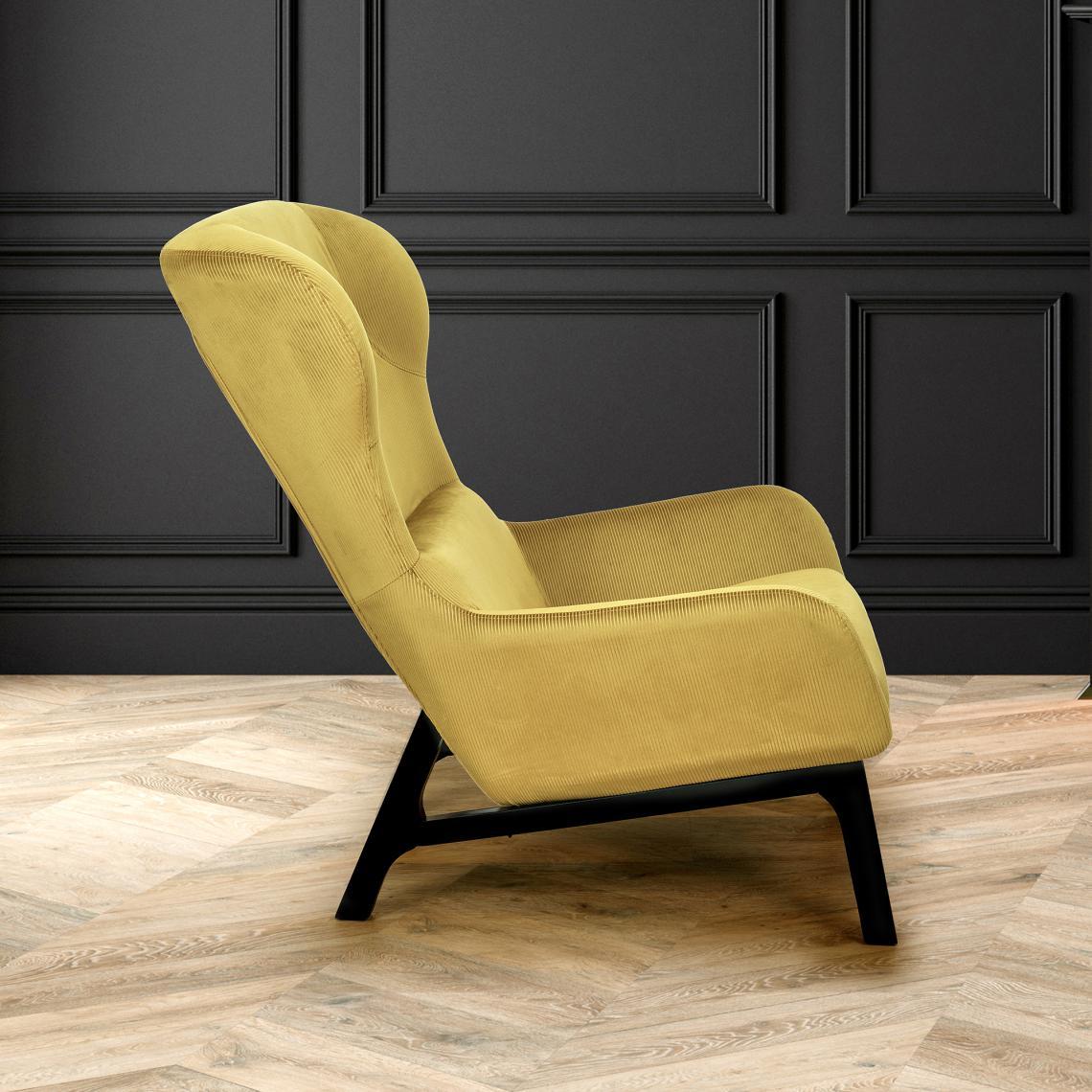 fauteuil velours cotele roma jaune moutarde  3 suisses