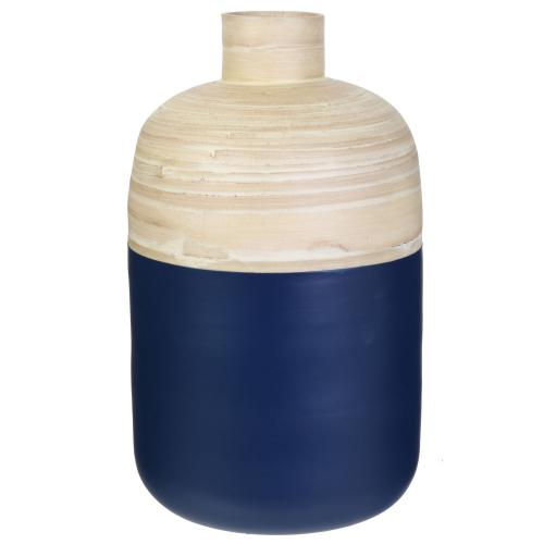 3S. x Home - Pot Decoratif En Bambou Bleu Marine H34cm - Dressing & rangement