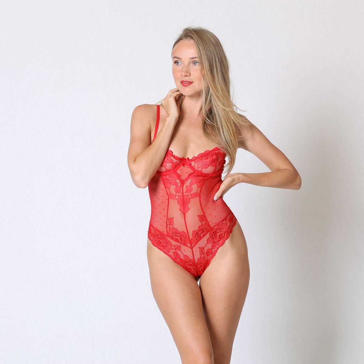Promo : Body dentelle Rouge - Midnight Lingerie - Modalova