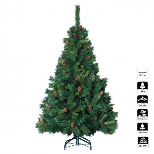 3S. x Home - Sapin ROYAL MAJESTIC 180Cm - Plante artificielle