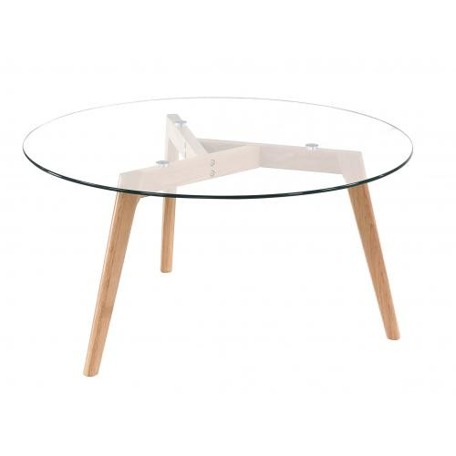 3S. x Home - Table Basse Scandinave D90cm Verre TARJA - Table basse
