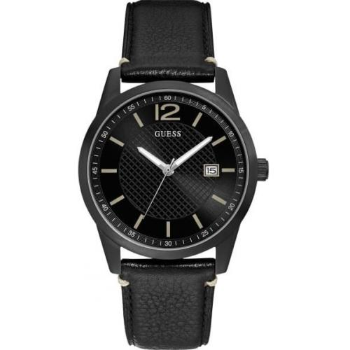 Montre Guess W1166G2 INKED Boitier Acier Noir Bracelet Cuir Noir Cadran Noir() Guess Montres