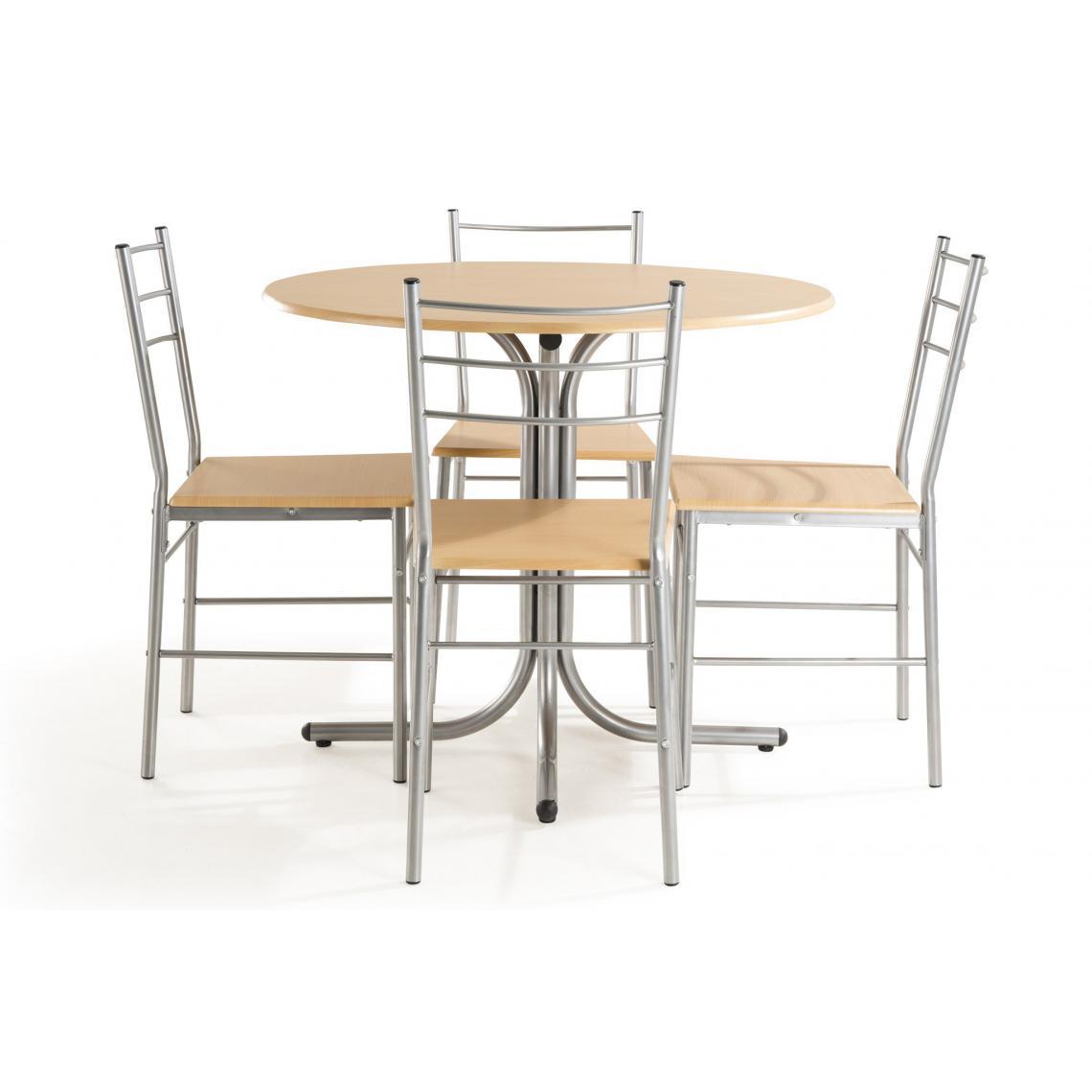 Ensemble Table Ronde + 4 Chaises Hêtre Naturel ROMEO