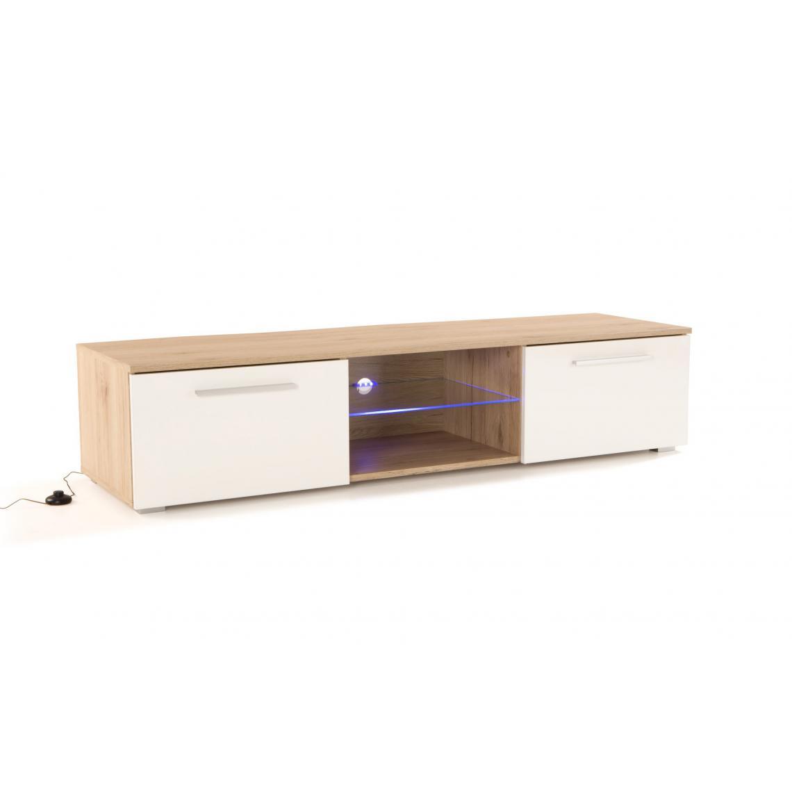 Meuble Tv Grande Taille meuble tv led intégrée chêne naturel blanc satory plus de détails